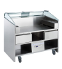 FREESTANDING MOBILE COUNTER WITH 2 REFRIGERATED DRAWERS. SUITABLE FOR 3 PLUG-IN APPLIANCES