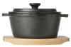 CAST IRON POT WOODEN BOARD WITH LID